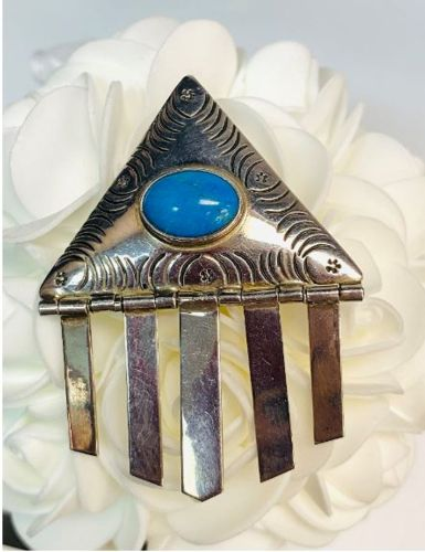 Image for 925 Silver & Turquoise Estate Brooch