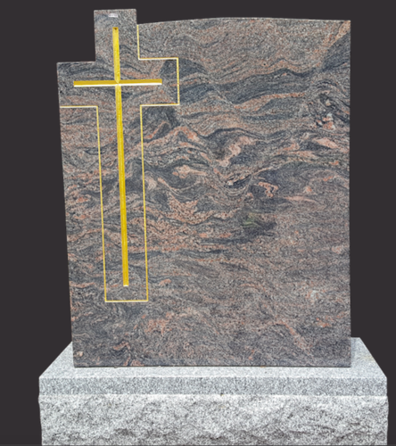 Himalayan Blue Granite Monument with Gold Cross