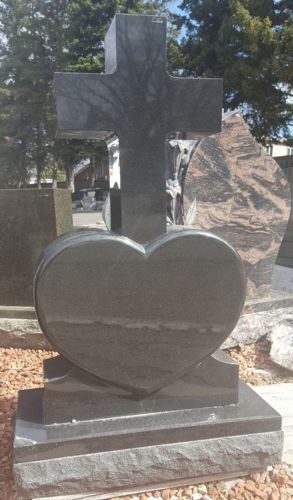 Black Granite Monument with Polished Heart and Cross