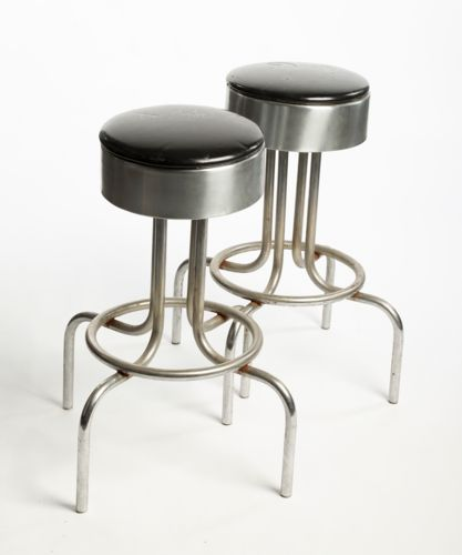 A Pair of Wayne Gretzky Signed Black (chrome base) Bar Stools from Gretzky's Restaurant