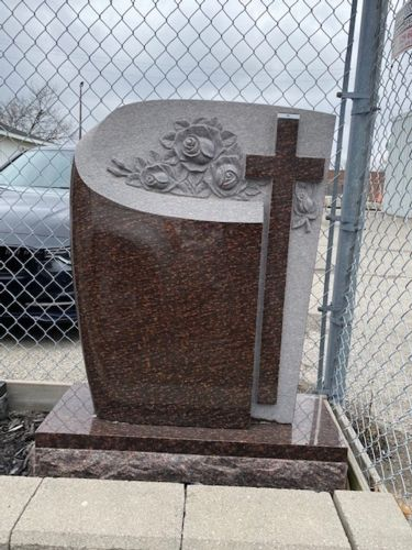 Image for Cat's Eye Granite Monument with Roses & Cross